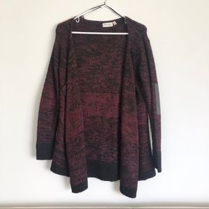 Red and Black Open Cardigan Leather Elbow Patches